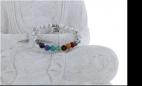 Bracelet 7 Chakras Howlite Perles rondes 8 mm Breloque Om