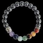 Bracelet 7 Chakras Hématite Perles rondes 8 mm Bouddha