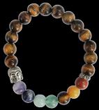 Bracelet 7 Chakras Oeil de tigre Perles rondes 8 mm Bouddha
