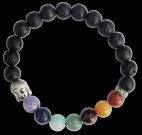 Bracelet 7 Chakras Pierre de lave Perles rondes 8 mm Bouddha