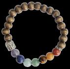 Bracelet 7 Chakras Bois Perles rondes 8 mm Bouddha