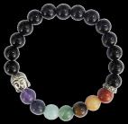 Bracelet 7 Chakras Onyx noir Perles rondes 8 mm Bouddha