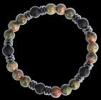 Bracelet H Unakite, Pierre de lave Perles rondes 8 mm