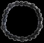 Bracelet H Onyx noir, Pierre de lave Perles rondes 8 mm