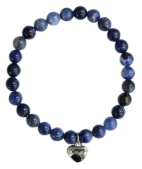 Bracelet Sodalite Perles rondes 6 mm Breloque coeur