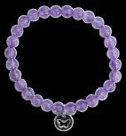 Bracelet Améthyste Perles rondes 6 mm Breloque papillon