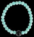 Bracelet Amazonite Perles rondes 6 mm et Perle unique Onyx Noir 1 cm