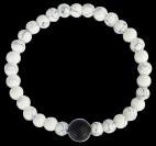 Bracelet Howlite Blanche Perles rondes 6 mm et Perle unique Onyx Noir 1 cm