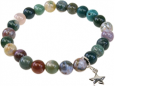 Bracelet Agate Multicolore Perles rondes 8 mm et Breloque Étoile