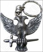 Porte-clefs maçonnique – Aigle bicéphale – Argent patiné