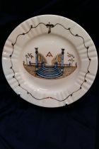 Assiette maçonnique (temple) en céramique