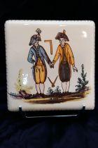Sous-plat maçonnique (équerre et compas) en céramique