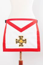 Tablier XVIIIe-REAA-02 : croix potencée+rose en fil doré