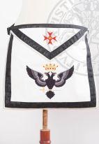 Tablier XXXe-REAA-01: couronne+aigle à deux têtes+croix de Malte+30