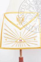 Tablier XXXIIIe-REAA-T01: grande gloire+33 dans un triangle+deux épées+aigle à 2 têtes