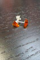 Boucle d'oreilles argent en ambre triangle